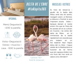 Escapada en el Delta mejillones ostras romántica parejas hotel Llansola