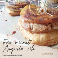 Foie micuit anguila cuita 24h poma i milfulls Jornadas Galera
